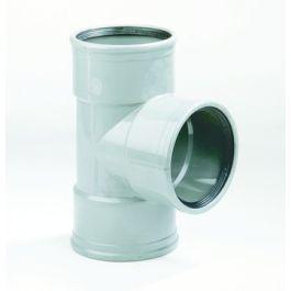 PVC T-stuk 110x110mm 87,5° 3 x manchetmof SN4 grijs