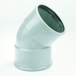 PVC Bocht 110mm 45° 2 x manchetmof SN4/SN8 grijs