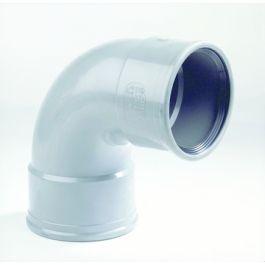 PVC Bocht 110mm 90° 2 x manchetmof SN4/SN8 grijs