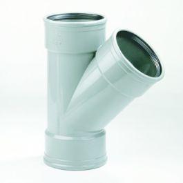 PVC T-stuk 110x110mm 45° 3 x manchetmof SN4/SN8 grijs
