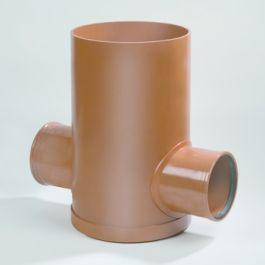 PVC-inspectieput 315/500mm 2x160mm (22) roodbruin
