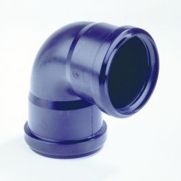 PPC bocht 32mm 90° 2 x manchetmof zwart