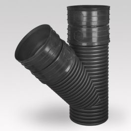 Ultra Kyma PP T-stuk 300 45° SN8 2MV/S zwart