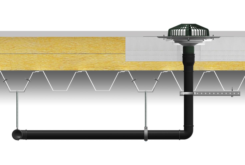 Évacuation de toit UV, système à remplissage complet pour l'évacuation d'eau de pluie en toit plat